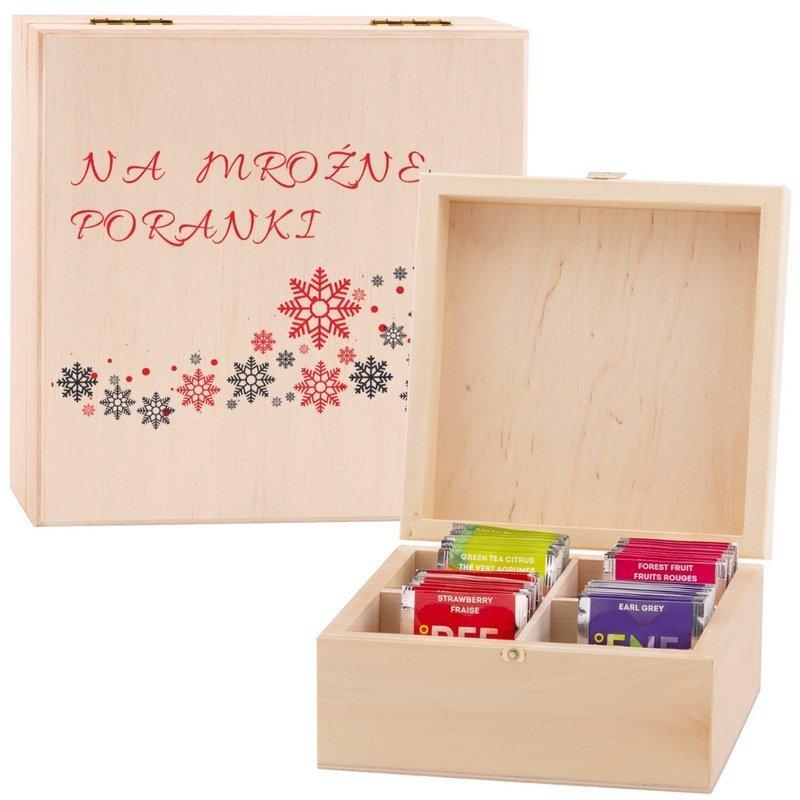 Pudełko drewniane na herbatę dla Babci Mamy z Nadrukiem