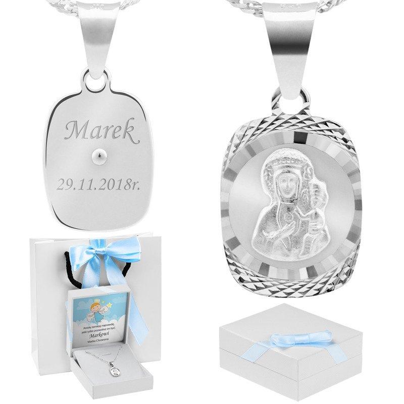 Srebrny medalik Matka Boska Częstochowska pr. 925 Grawer niebieska kokardka