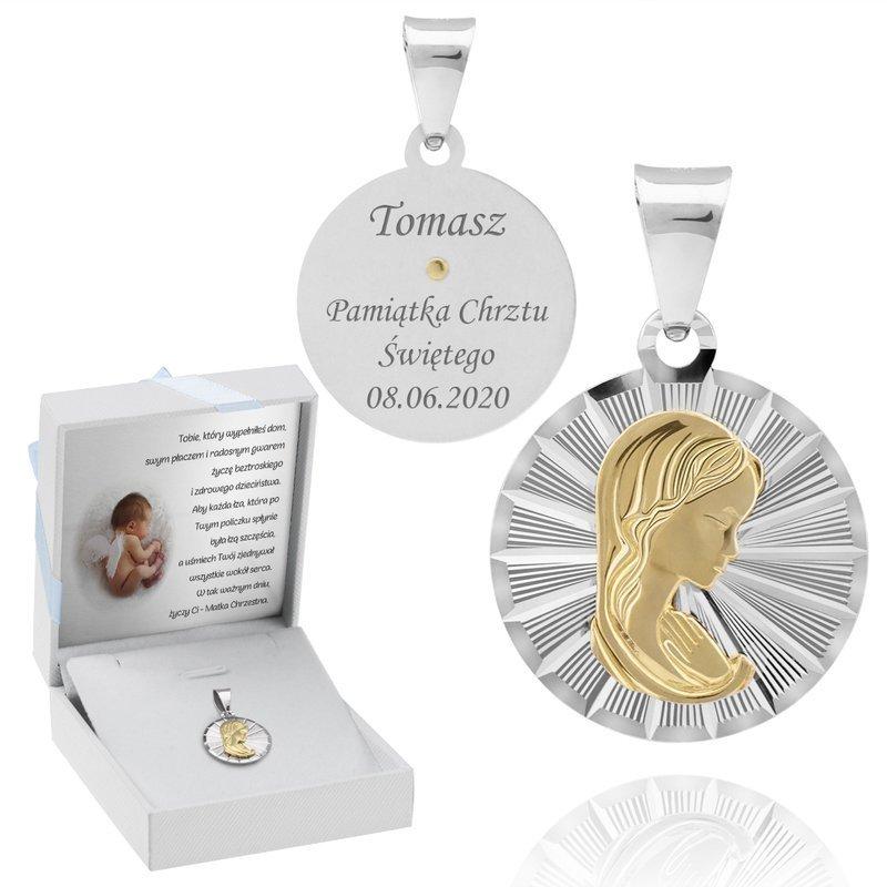 Srebrny medalik pr. 925 z pozłacaną Matką Boską Grawer