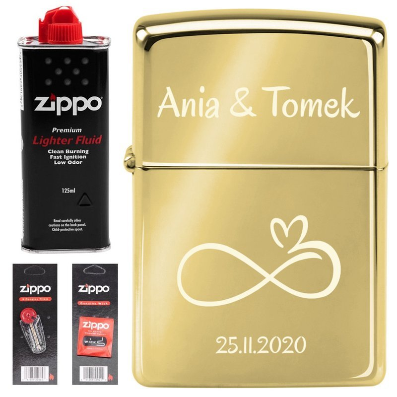 Zapalniczka ZIPPO 254 B High Polish Brass Benzyna Knoty Kamienie GRAWER