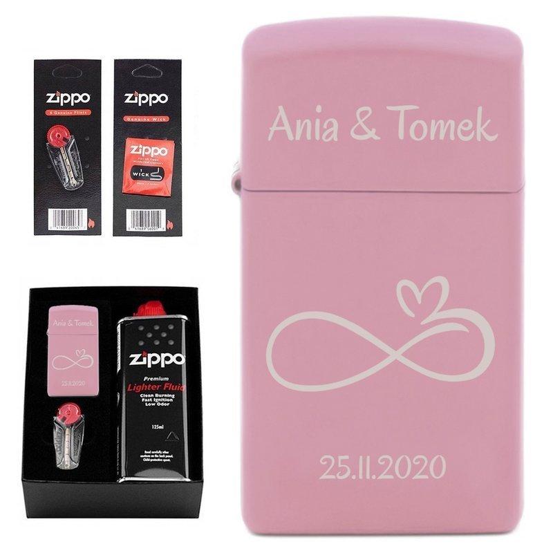 Zapalniczka Zippo Slim Pink Matte Pudełko + Akcesoria Prezent Garwer