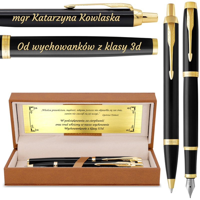 Zestaw Parker IM czarny GT Pióro Długopis * Eleganckie Etui * Grawer