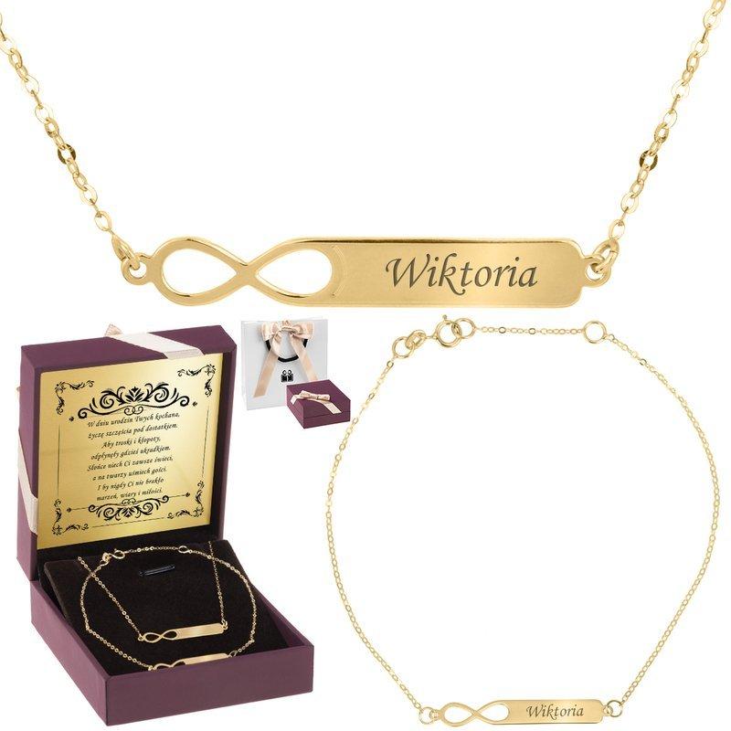 Złota bransoletka i naszyjnik pr. 333 Nieskończoność z Grawerem i Dedykacją