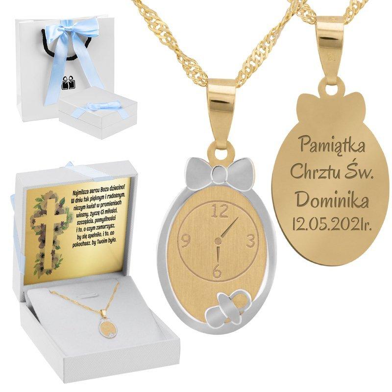 Złoty Komplet pr. 585 Zegar Roczek Chrzest GRAWER niebieska kokardka