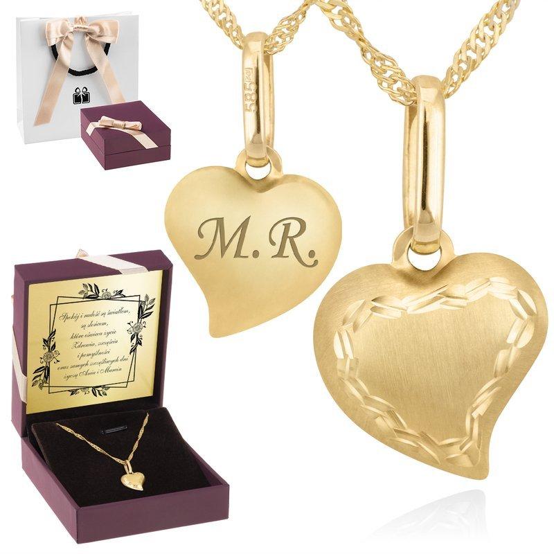 Złoty Łańcuszek wisiorek Serce 585 Prezent GRAWER różowa kokardka