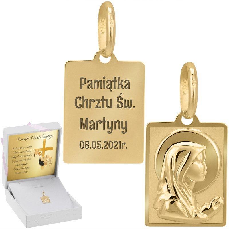 Złoty medalik próba 585 Matka Boska Chrzest Komunia Bierzmowanie Grawer