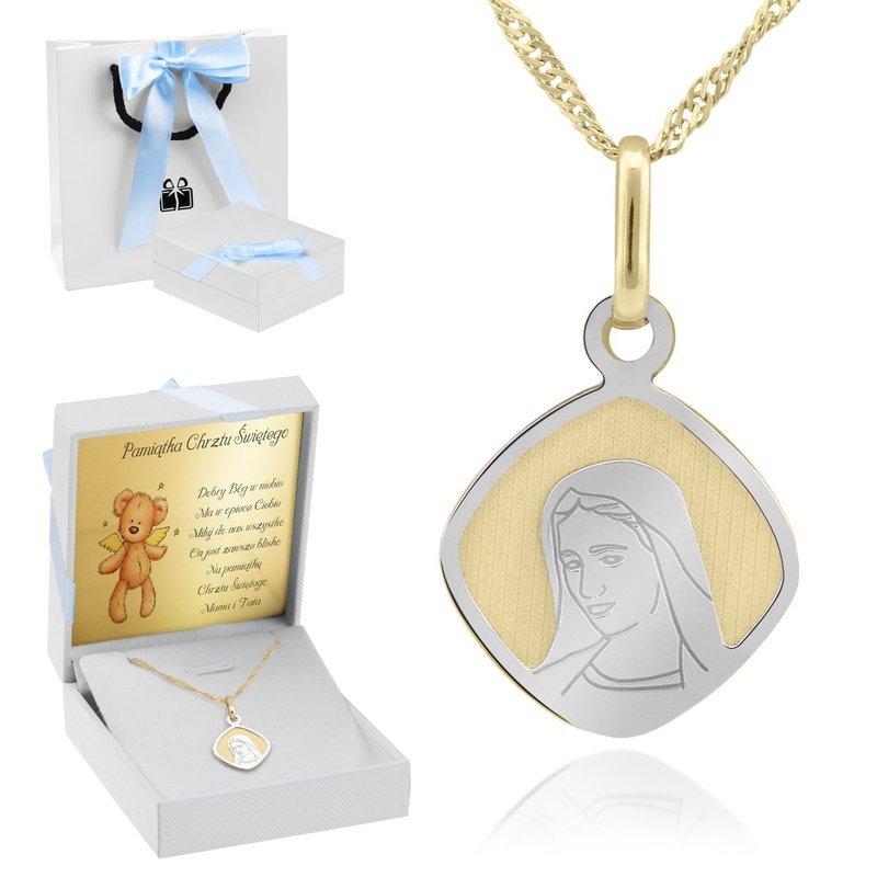Złoty medalik z Matką Boską pr. 585 Dedykacja