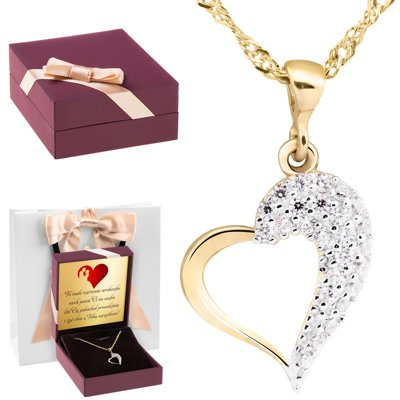Złoty wisiorek serce z kryształkami pr. 333 Dedykacja