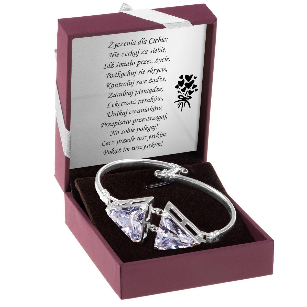 Bransoleta z Kryształami Srebro 925 Dedykacja
