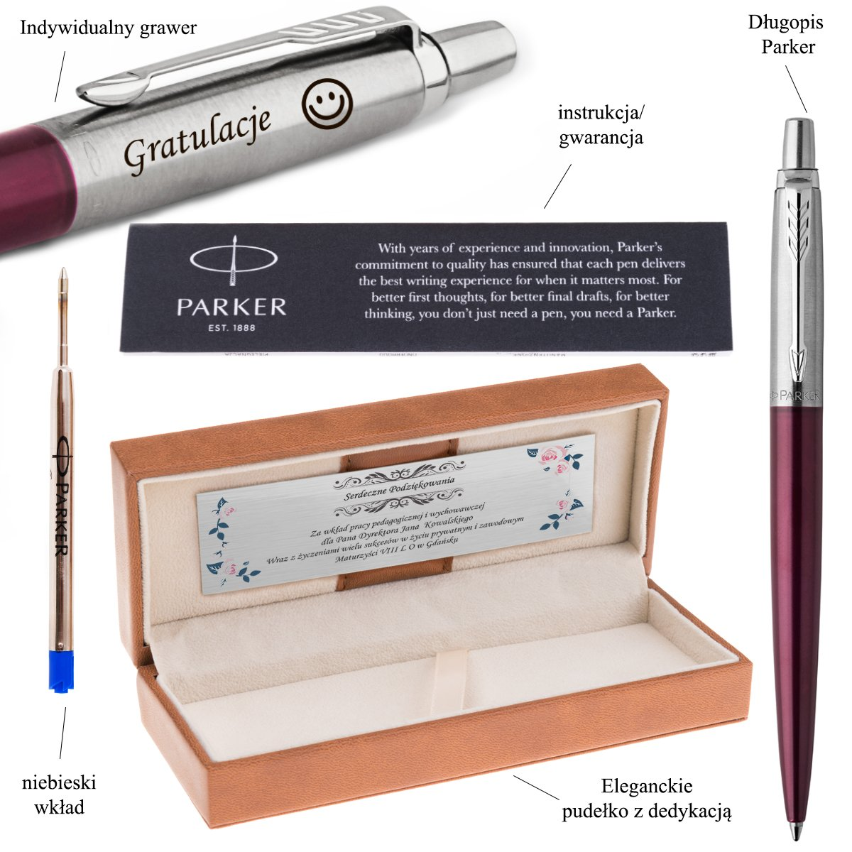Długopis Parker Jotter CT Portobel Purple Grawer