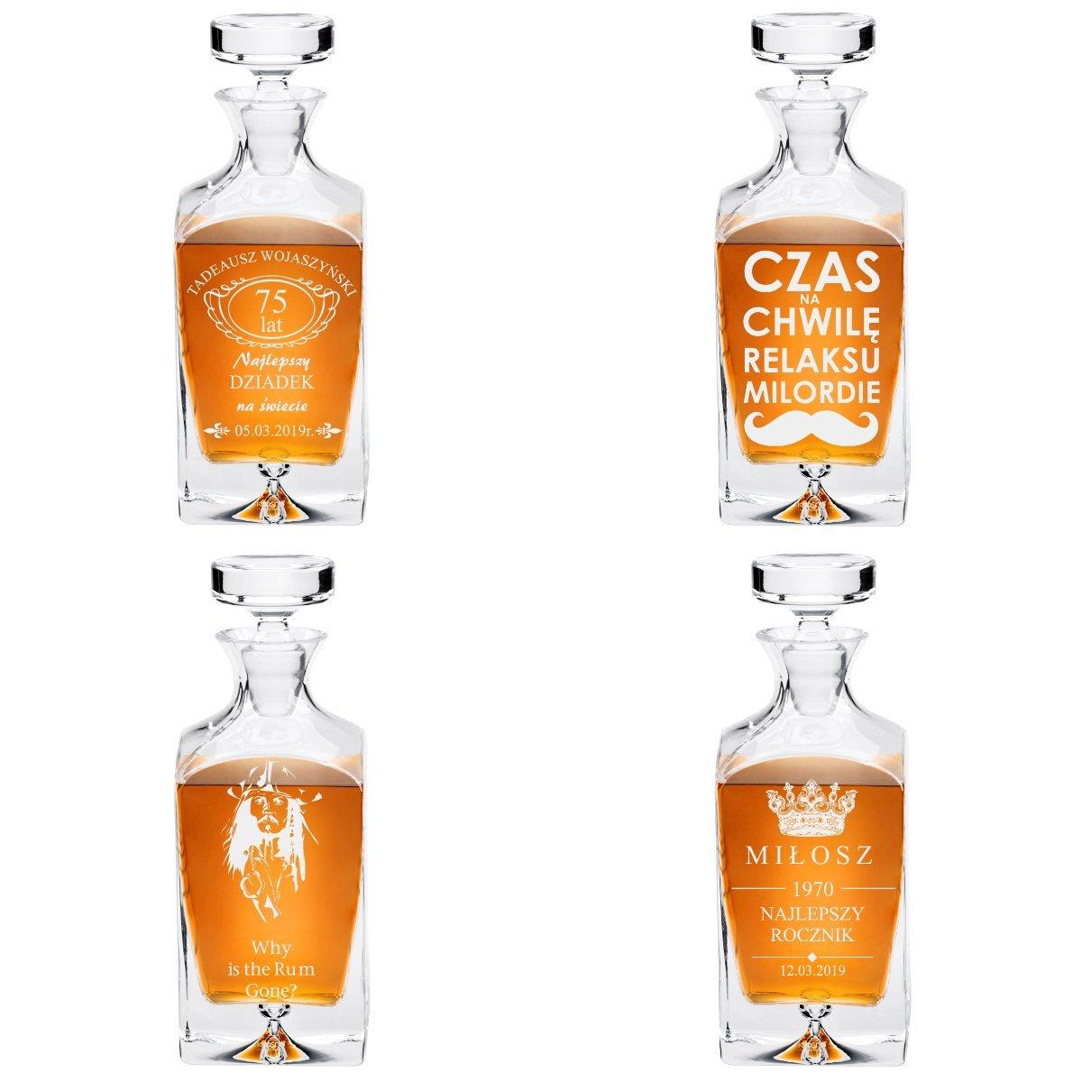 Karafka ze szkła do whisky 750 ml Legend Prezent z Grawerem