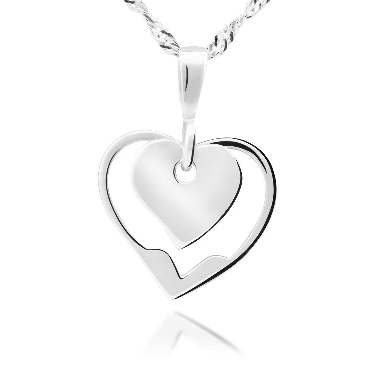 Serce w sercu Srebro 925 Walentynki Prezent z Grawerem