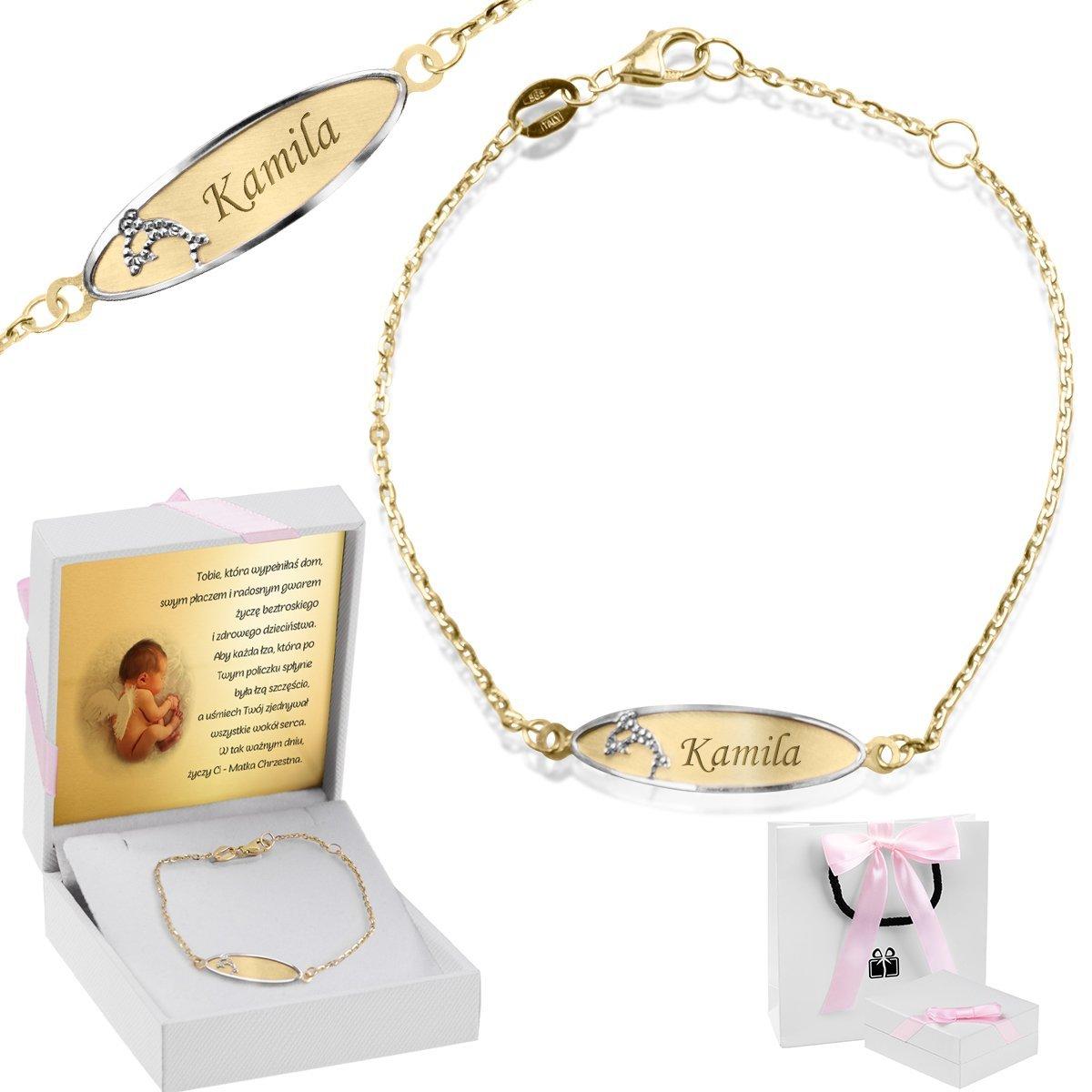 Złota bransoletka łańcuszek z blaszką z delfinkiem pr. 585 Grawer