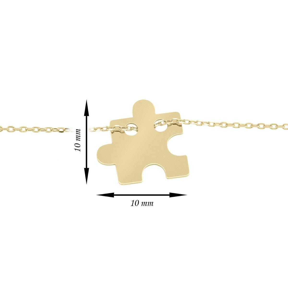 Złoty Komplet Naszyjnik + Bransoletka pr. 333 Puzzel Grawer