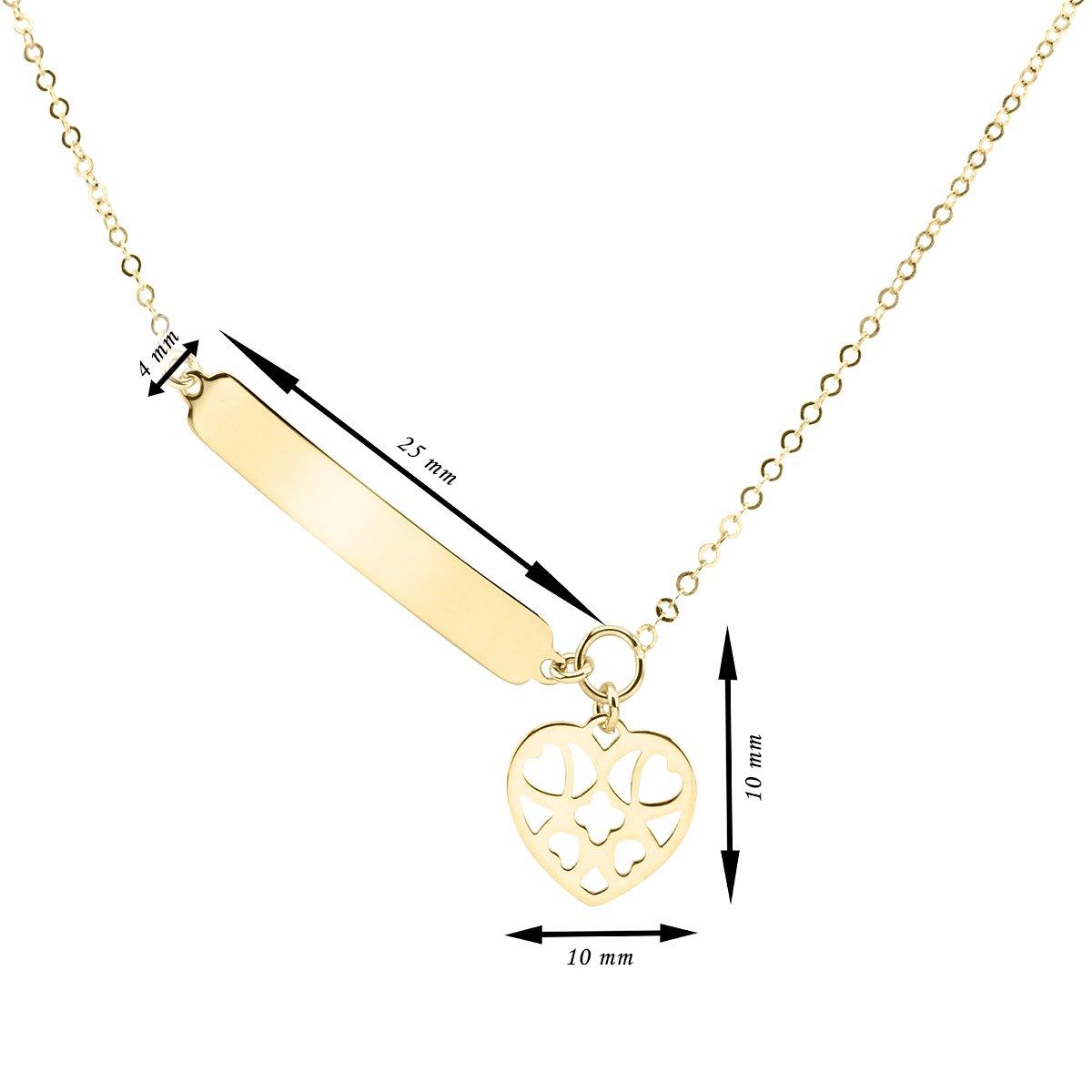 Złoty Naszyjnik pr. 333 ażurowe serce z blaszką Prezent