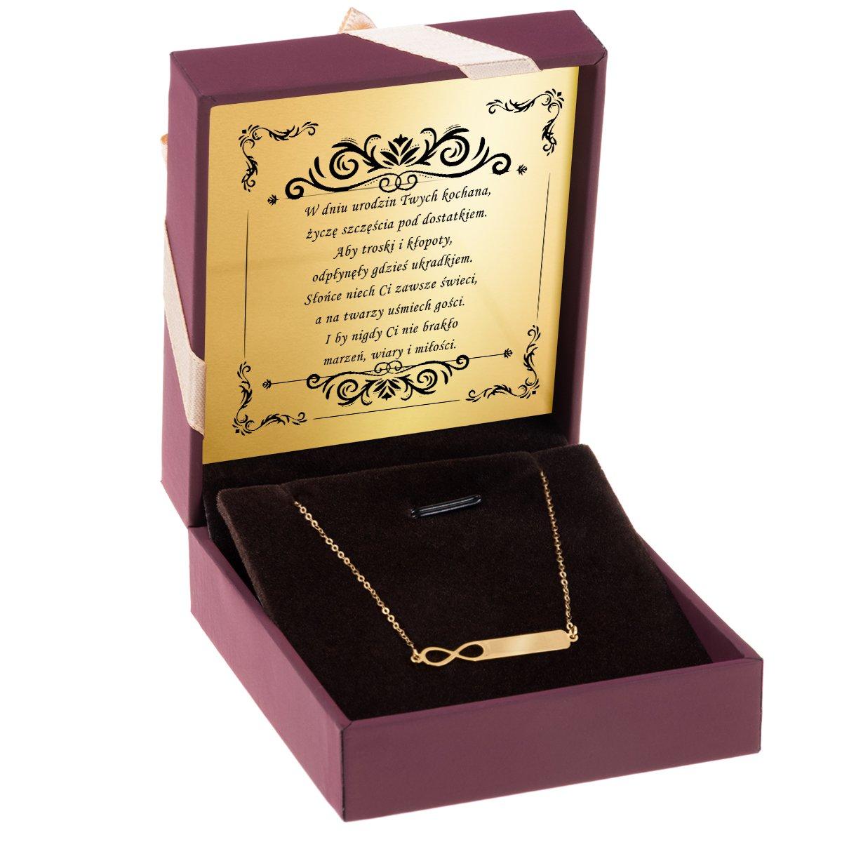 Złoty Naszyjnik pr. 585 nieskończoność z blaszką GRAWER złota kokardka