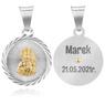 Srebrny Medalik Z Matką Boską Częstochowską Grawer 1